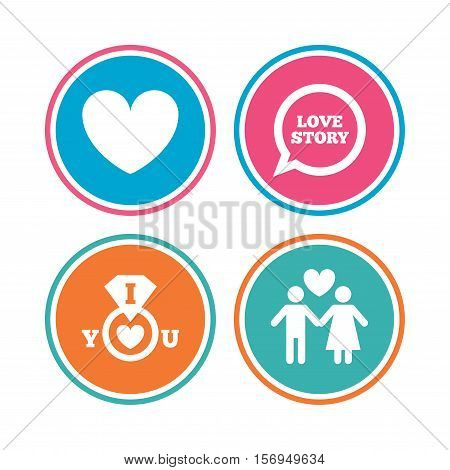 Valentine day love icons. I love you ring symbol. Couple lovers sign. Love story speech bubble. Colored circle buttons. Vector