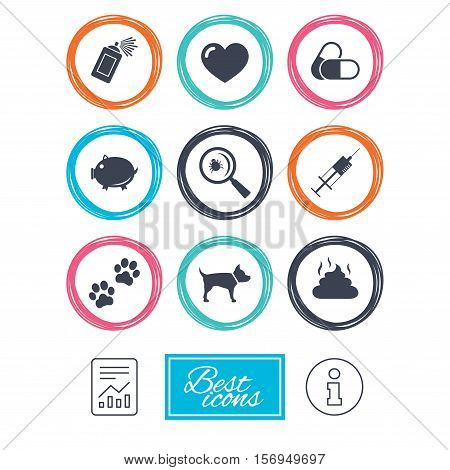 Veterinary, pets icons. Dog paws, syringe and magnifier signs. Pills, heart and feces symbols. Report document, information icons. Vector