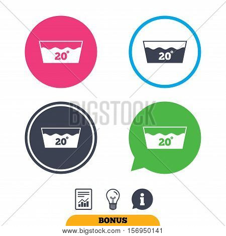 Wash icon. Machine washable at 20 degrees symbol. Report document, information sign and light bulb icons. Vector