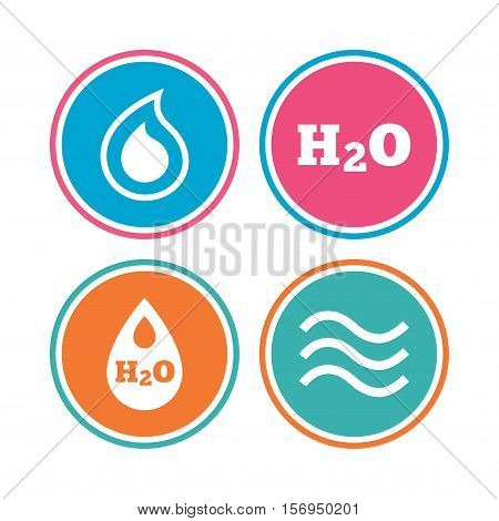H2O Water drop icons. Tear or Oil drop symbols. Colored circle buttons. Vector
