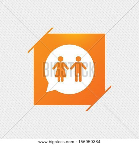 Toilet sign icon. Restroom or lavatory speech bubble symbol. Orange square label on pattern. Vector