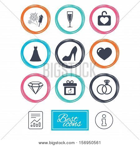Wedding, engagement icons. Locker with heart, gift box and fireworks signs. Dress, heart and champagne glass symbols. Report document, information icons. Vector