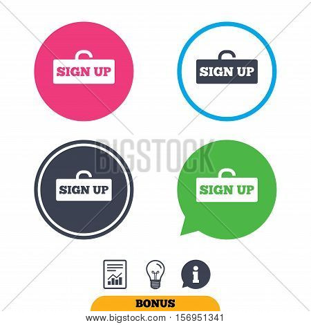 Sign up sign icon. Registration symbol. Lock icon. Report document, information sign and light bulb icons. Vector