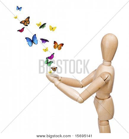 Wooden man releasing colorful butterflies