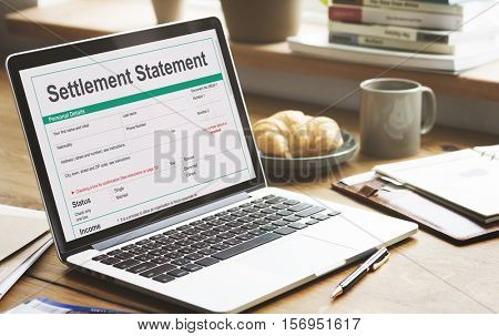Settlement Statement Form Financial Concept