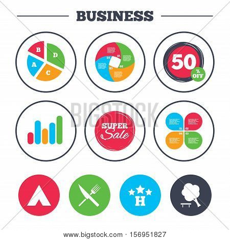 Business pie chart. Growth graph. Food, hotel, camping tent and tree icons. Knife and fork. Break down tree. Road signs. Super sale and discount buttons. Vector