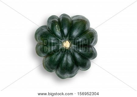 Above Head view of Acorn Squash Isolated on White Background with Light Drop Shadow