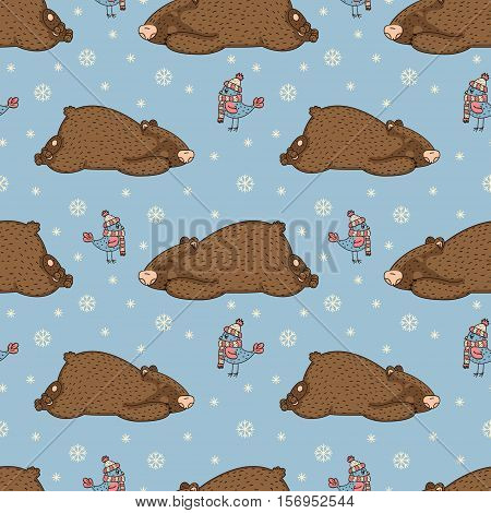 seamless winter pattern with sleepy bears and birds in hats on a blue background