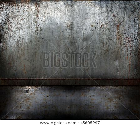Grunge rusty metal room, background image