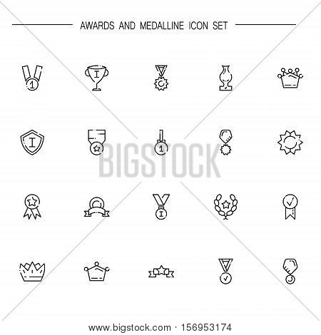 Awards and medal flat icon set. Collection of high quality outline symbols of medal and awards for web design, mobile app. Vector thin line vector icons or logo of awards and medal.