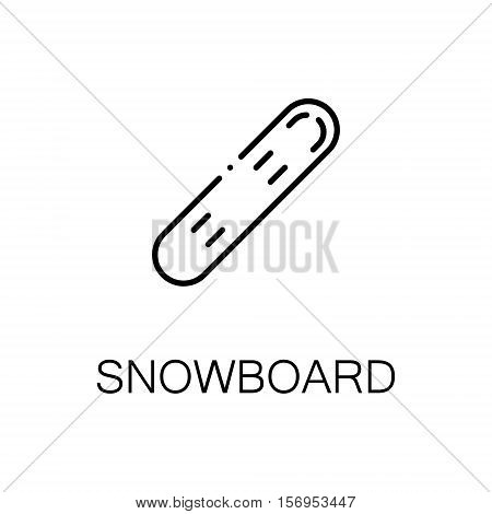 Snowboard flat icon. Single high quality outline symbol of sports for web design or mobile app. Thin line signs of snowboard for design logo, visit card, etc. Outline pictogram of snowboard