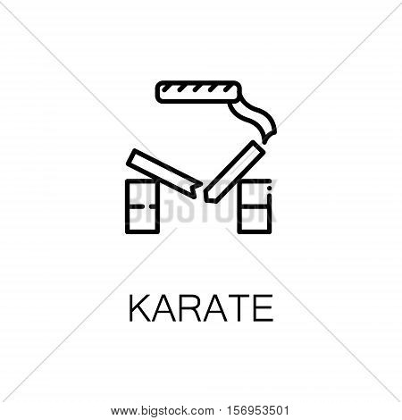 Karate flat icon. Single high quality outline symbol of sport for web design or mobile app. Thin line signs of karate for design logo, visit card, etc. Outline pictogram of karate