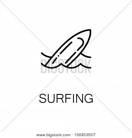 Surfing flat icon. Single high quality outline symbol of sport for web design or mobile app. Thin line signs of surfing for design logo, visit card, etc. Outline pictogram of surfing