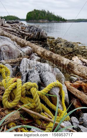 A coil of heavy polypropylene rope lies tangled in the rocks and driftwood on the shore of an island in the central coast of British Columbia