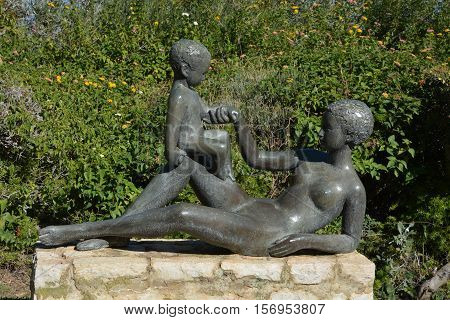 HAIFA, ISRAEL 07 11 2016: Sculpture Garden, also known as Mitzpor HaShalom (Vista of Peace), in Haifa displays the sculptures of Ursula Malbin. The Garden has a stunning view of the Haifa bay, HAIFA, ISRAEL 07 11 2016: Sculpture Garden, also known as Mitz