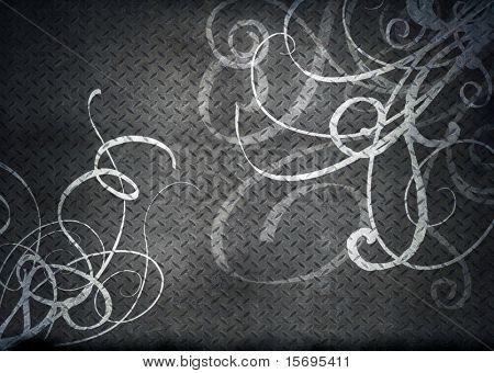 Stainless steel threadplate with swirly overlay