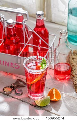 Tasty Red Summer Drink With Mint Leaf
