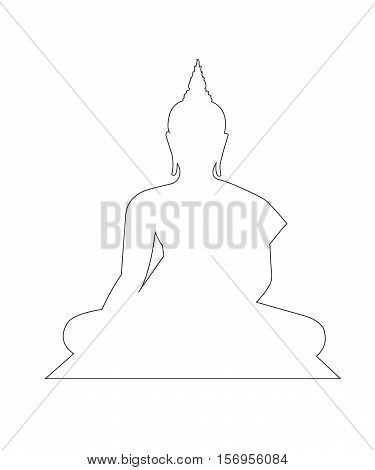 Buddha Statue Path on the white background