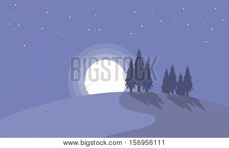 Landscape of spruce with moon Christmas collection stock