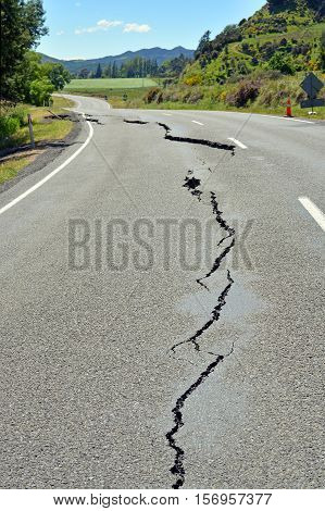Kaikoura New Zealand - November 15 2016: First signs of damage on the road to Kaikoura are seen just north of Parnassus in North Canterbury following the 7.5 Kaikoura Earthquake this week.