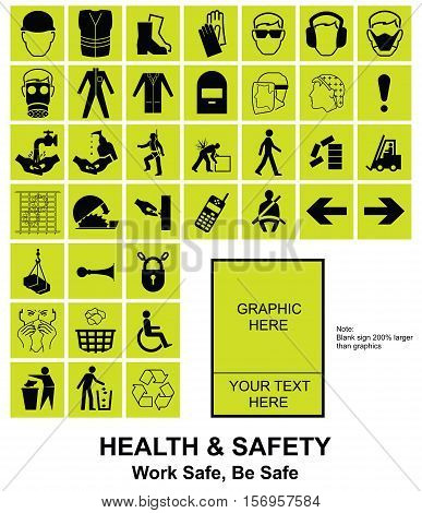 Yellow make your own construction manufacturing and engineering health and safety related signs isolated on white background with sample template