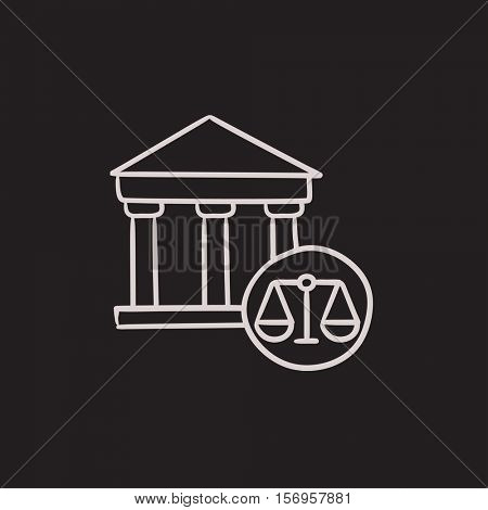 Court vector sketch icon isolated on background. Hand drawn Court icon. Court sketch icon for infographic, website or app.