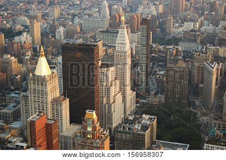 Midtown Manhattan skyline, include New York Life Insurance, Madison Square Park and Flatiron Building, NYC, USA.
