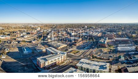 cityscape panorama of Fort Collins downtown, late fall scenery of northern Colorado, aerial view