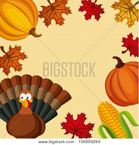 happy thanksgiving icons frame over yellow background. colorful design. vector illustration