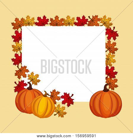 happy thanksgiving  with dry leaves and pumpkin icon frame. colorful design. vector illustration
