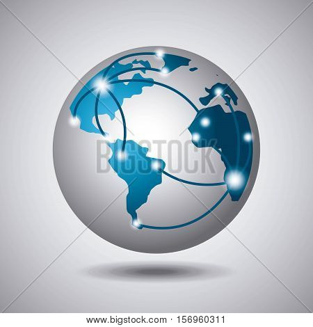 earth sphere icon with network arrows over white background. vector illustration