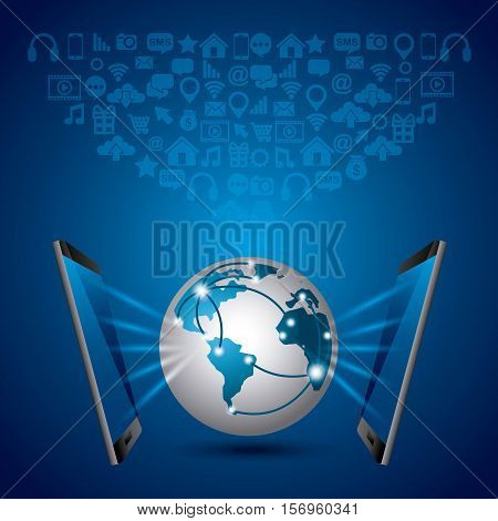 smartphones and earth sphere with social media icons over blue background. vector illustration