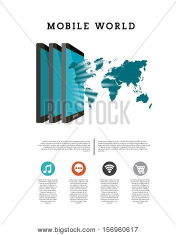 mobile world infographic with smartphone and world map icon over white background. vector illustration