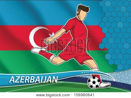 Vector illustration of football player shooting on goal. Soccer team player in uniform with state national flag of Azerbaijan.