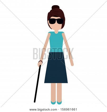 Disabled girl cartoon icon. People medical health care and physical theme. Vector illustration