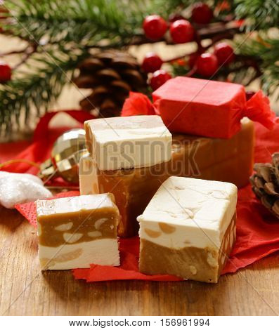 homemade sweet dessert nougat with nuts for gift