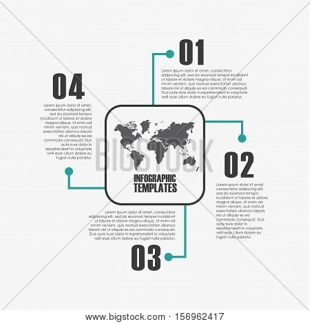 colorful infographic template presentation with world map icon and numbers. vector illustration