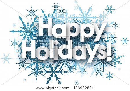White happy holidays background with blue snowflakes. Vector illustration.