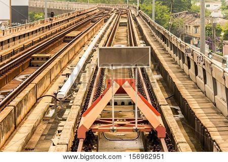 Rail Yard, Tracks And Endstation.