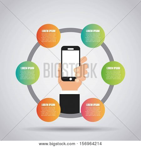 colorful infographic template presentation with human hand holding a smartphone device. vector illustration