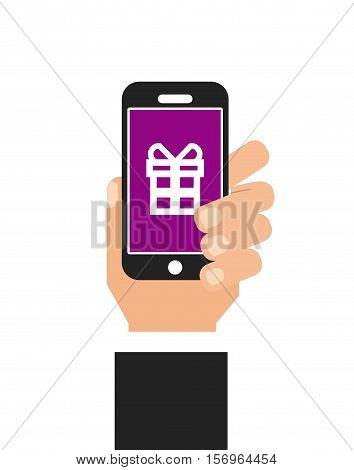 human hand holding a smartphone device with gift box icon on screen over white background. vector illustration