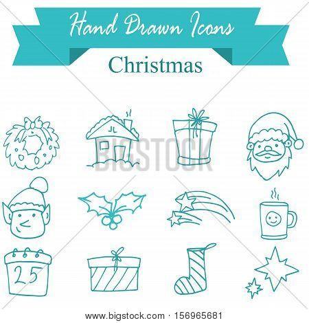 Illustration of Christmas icons vector collection stock
