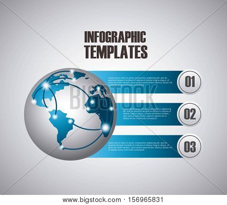 infographic presentation template with numbers with earth planet icon. colorful design. vector illustration