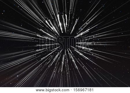 Abstract speed lines motion, with stars background, space travel, and time travel concept