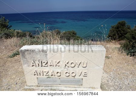 Anzac Cove in Gallipoli, Canakkale, Dardanelles, Turkey.