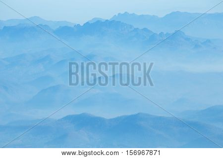 mountains under mist in the morning.Doi Luang Chiang Dao,Thialand