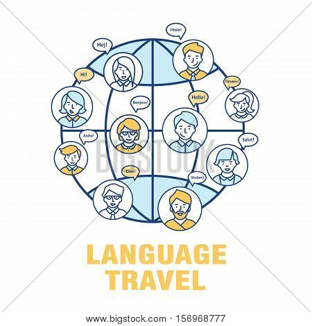 Vector concept for the language of tourism. A banner with the worlds landmarks with speech bubbles in different languages.