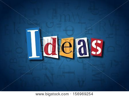The word Ideas made from cutout letters