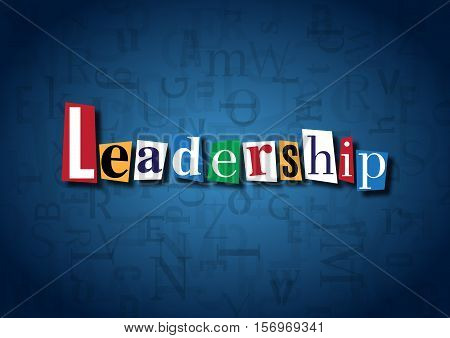The word Leadership made from cutout letters