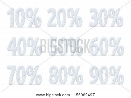 Winter retail sale commercial and business advertisement creative abstract concept christmas sale discount offer snowy special price percents cut off text collection made of snow isolated on white 3d illustration